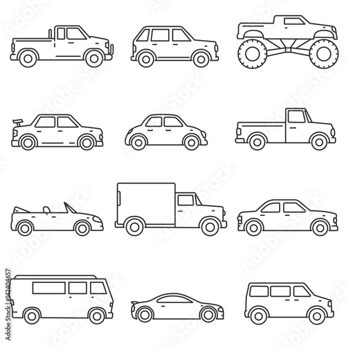 Cars On Line >> Cars Icons Set Means Of Transport Thin Line Design Different
