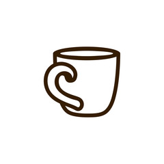Cup of coffee tea with line icon black on white
