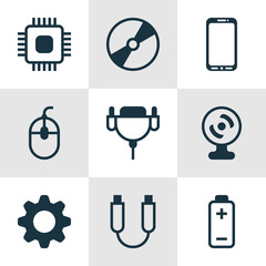 Set Of 9 Computer Hardware Icons. Includes Chip, Settings, Battery And Other Symbols. Beautiful Design Elements.
