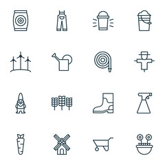 Set Of 16 Farm Icons. Includes Root, Bugbear, Dwarf And Other Symbols. Beautiful Design Elements.