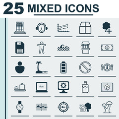 Set Of 25 Universal Editable Icons. Can Be Used For Web, Mobile And App Design. Includes Elements Such As Baggage Carousel, Employee, Island Beach.