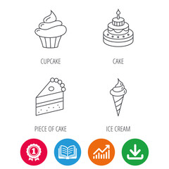 Cake, cupcake and ice cream icons. Piece of cake linear sign. Award medal, growth chart and opened book web icons. Download arrow. Vector