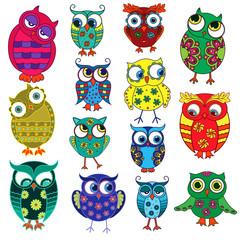 Fourteen cartoon funny owls