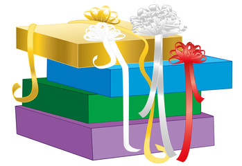 Gift wrapping - pile of unpacked gift boxes with ribbon bows in different colors. Isolated vector illustration on white background.