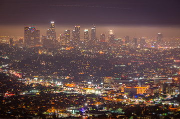 Wall Murals Los Angeles Night view of Los Angeles downtown, California, USA
