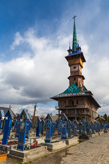 Sapanta. Colorful painted wooden tombstones at Merry Cemetery Famous graveyard in county of Maramures Romania