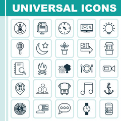 Set Of 25 Universal Editable Icons. Can Be Used For Web, Mobile And App Design. Includes Elements Such As Blog Page, Food Mapping, Personal Skills And More.