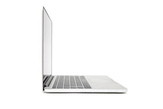 Side view of  laptop with blank screen isolated on white background