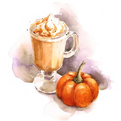 Watercolor Coffee Pumpkin Latte with Whipped Cream Hand Painted Autumn Illustration