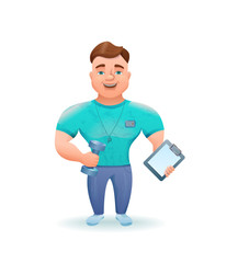 Personal fitness trainer or bodybuilder holding dumbell cartoon character. Vector illustration