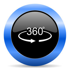Panorama 360 black and blue web design round internet icon with shadow on white background.
