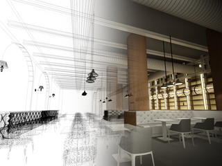 sketch design of   interior restaurant, 3d rendering