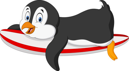 Cartoon surfing penguin