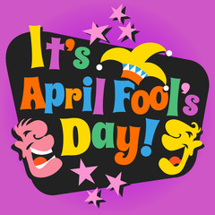 April Fool's Day design with funny letters, laughing cartoon faces and jester hat.