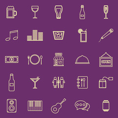 Bar color line icons on purple background