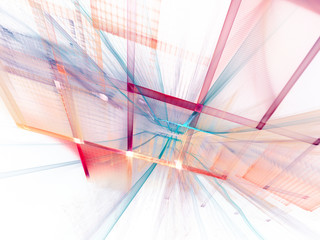 Abstract background element. Three-dimensional composition of curves and grids. Information technology concept.