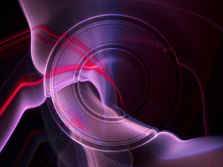 Abstract background. Composition of halftone effect, liquid blur waves and concentric circles. Violet and black colors.