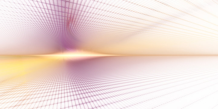 Abstract background element. Grid planes perspective. Retro sci fi style. Time and space concept. Purple and yellow colors on white.
