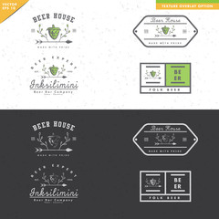 set of vintage beer logo design, black and white, texture, with leaf ornaments