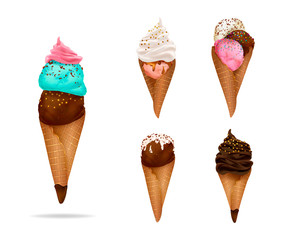 Ice cream collection: chocolate, vanilla, cream,scoops, waffle cone, different colors and forms. Hand drawn elements, vector illustration, editable elements, 3d tasty set, isolated on white background