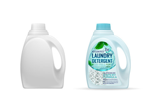 Laundry detergent ads, deep clean design. Ultra clean and fresh, deep clean effects, fibers, water drops, dirt. Drawn elements,3d vector illustration, mock up, realistic colorful background.