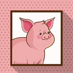 cute pig frame picture vector illustration eps 10