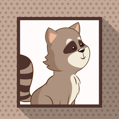 cute raccoon frame picture vector illustration eps 10