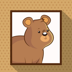 cute bear frame picture vector illustration eps 10