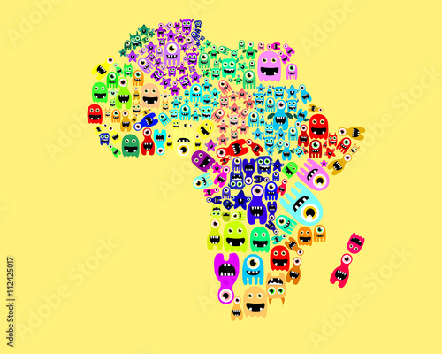 Africa Map Cartoon Monster Silhouette Stock Image And Royalty Free