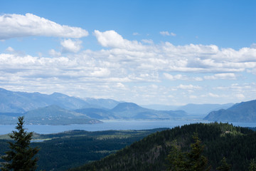 View of Lake Pend Oreille from the top of the mountain near Sandpoint, Idaho