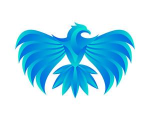 Modern Blue Flaming Eagle Logo
