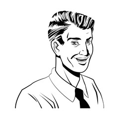 happy man comic style black and white vector illustration eps 10