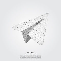 Polygonal paper plane. Point and line composition. Projects template for business. Vector illustration.