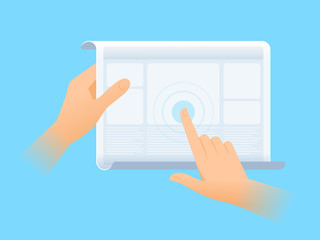 Human hand is using the screen of flexible tablet computer. Flat vector illustration of future gadget. Modern innovation technologies concept. Design element for presentation, web, infographics.