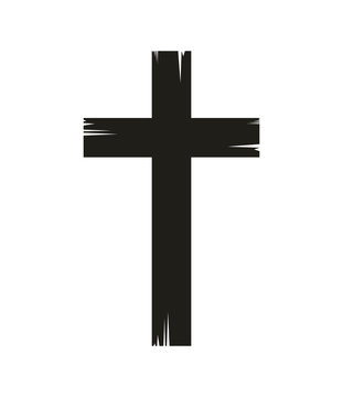 christian cross icon over white background