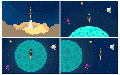 Set of four vector illustration with flying rocket. Space travel.