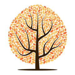 Vector tree with yellow leaves isolated on a white background