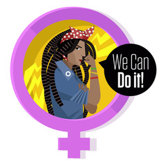 african dreadlocks woman in feminism female symbol