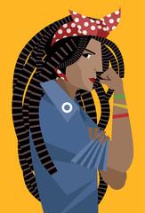 african dreadlocks feminist woman holding her arm