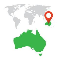 Detailed map of Australia and World map navigation set. Flat vector illustration.