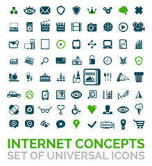 Collection of vector universal internet concept icons