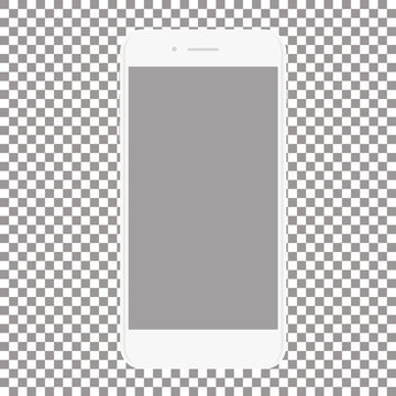 white phone with blank screen on a transparent background