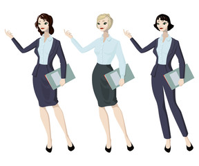 Three business woman with different hairstyles