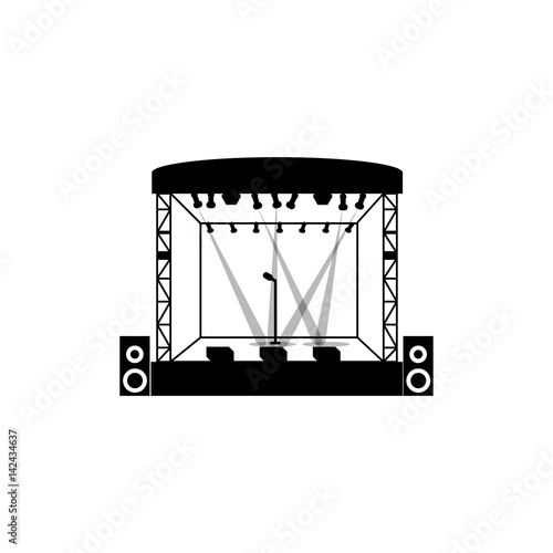 "Landscape Lighting Icon: ""Outdoor Concert Scene With Light Vector Icon. "" Stock"