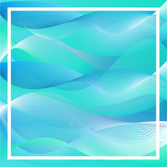 Abstract green and blue wave background.
