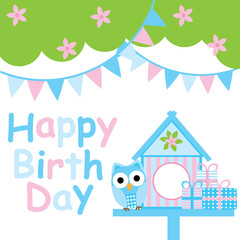 Birthday card with cute owl, bird house and colorful flag suitable for postcard, greeting card, and invitation card