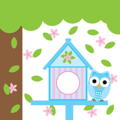 Spring card with cute owl and bird house suitable for postcard, greeting card, and nursery wall