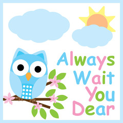 Spring card with cute owl on flower branch suitable for postcard, greeting card, and nursery wall