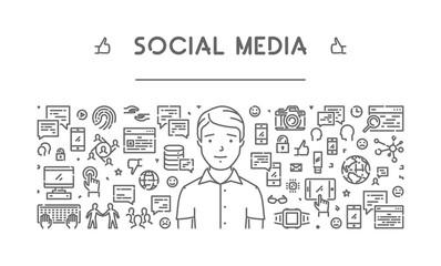 Modern line web banner for social media