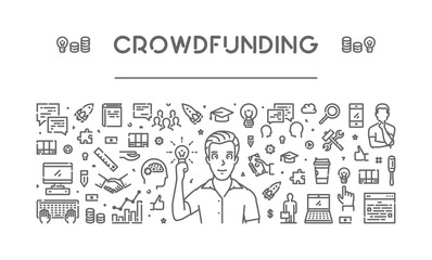 Vector line web banner for crowdfunding